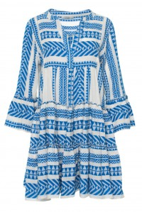 Bell Sleeve Beach Dress Blue