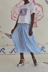 Claire Skirt Squiggle Blue White