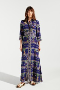 Twilight Safari Maxi Shirt Dress