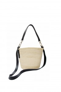 Straw and Leather Cross Body Black