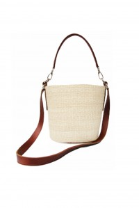 Straw and Leather Cross Body