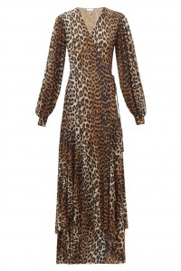 Printed Mesh Wrap Dress Leopard