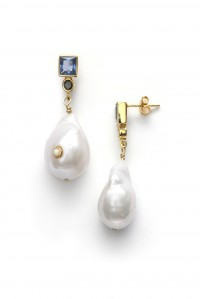 Baroque Pearl Bling Earrings Navy