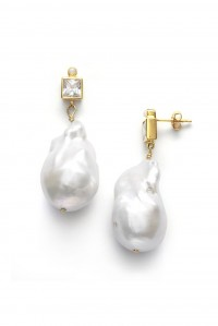 Baroque Pearl Bling Linen Earrings