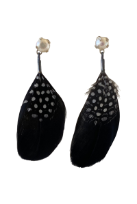 Feather and Pearl Earrings