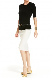 Stretch Pencil Skirt Beige