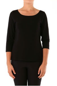 SLIM FIT 3/4 SLEEVE WIDE NECK TOP