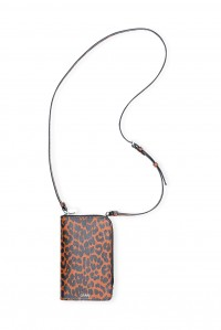 Toffee Leopard leather Crossbody Phone Bag