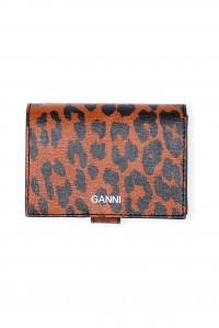Mini Leather Wallet Toffee Leopard