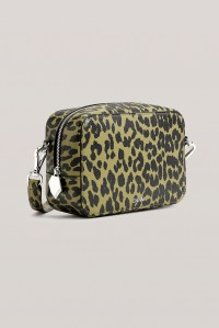 Leather Crossbody Bag Olive Leopard