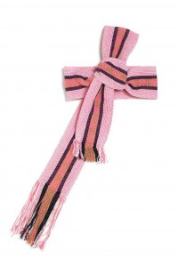 Hand woven wide pink white brown and black belt