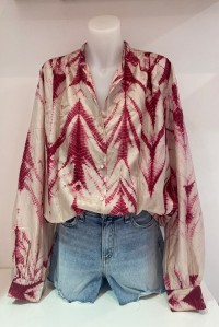 Silk Shirt Cherry Tie Dye