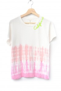 Embroidered California Tee Pink Tie Dye