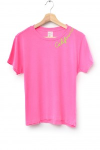 Embroidered California Tee Hot Pink