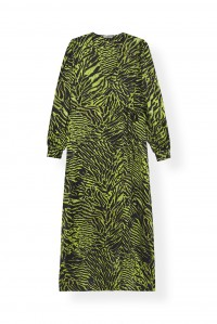 Lime Tiger Silk Wrap Dress