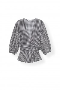 Gingham Wrap Blouse