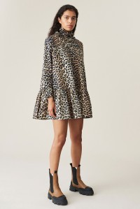 Oversized Cotton Poplin Dress Leopard