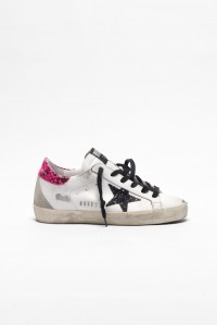 Sneakers Superstar White Leather Fuxia Glitter Star