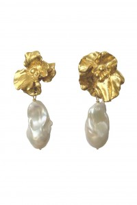 Large Joanna Bloom and Pearl Earrings Gold