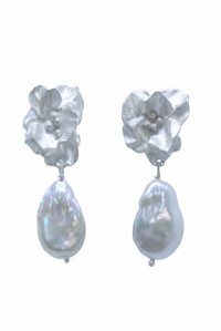 Large Joanna Bloom and Pearl Earrings