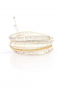 Gold and White Wrap Bracelet