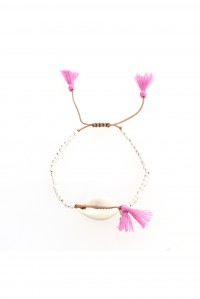 Cowry Shell Silver and Pink Bracelet