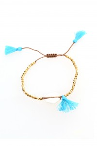 Cowry Shell Gold and Aqua Bracelet