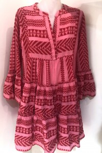 Bell Sleeve Beach Dress Pink and Red