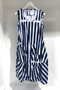Stripe Pocket Dress Navy