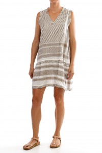 Dress 2 V no sleeve dress taupe