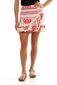Pom-Pom Mini Skirt Red