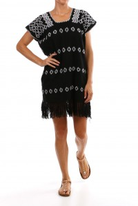 Black and White mini kaftan with fringing
