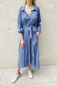 Camille Dress Waterway Stripe