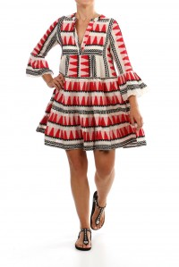 Embroidered Bell Sleeve Dress Red/Black