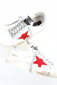 Sneakers may white shiny metallic red star