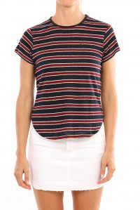 Nautical linen tee maroon and navy