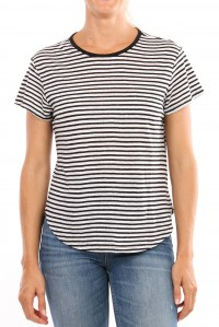 Stripe linen tee black and white