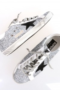 Sneakers Superstar Silver Glitter Black star