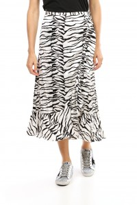 Gracie Skirt White and Black Tiger
