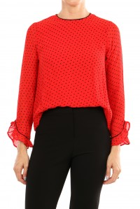 Mulin Georgette Blouse Red Dot