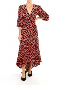 Lindale Crepe Wrap Dress Fiery Red