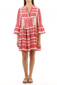 Bell Sleeve Beach Dress Red
