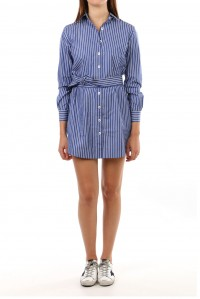Olivia Mid Dress Blue Stripe with belt