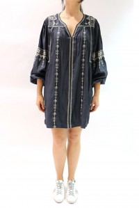 Toscaline Silk Dress Dark Navy