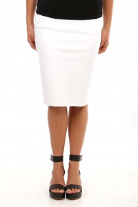 STRETCH PENCIL SKIRT WHITE