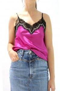 Bias Cami with lace and grommets