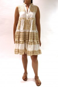 Sleeveless Embroidered Dress Gold