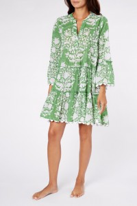 Flared Sleeve Dress Palladio Print Green