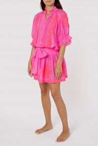 Neon Blouson Dress Silk Neon Pink