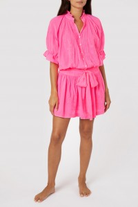 Neon Blouson Dress with Lotus Embroidery